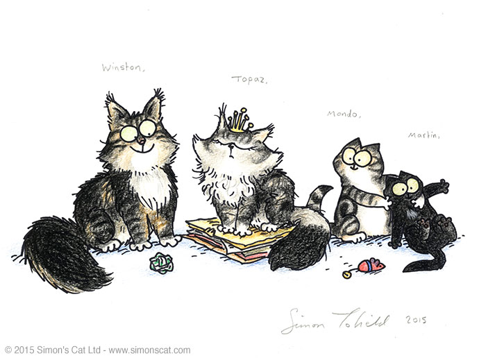 Winston Topaz Martin Mondon Your Pet Drawn Indiegogo Perk Simon's Cat drawing