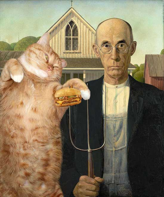 Simon's Cat Asks... Fat Cat Art - American Gothic